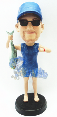Man holding a fish custom bobblehead doll Premium