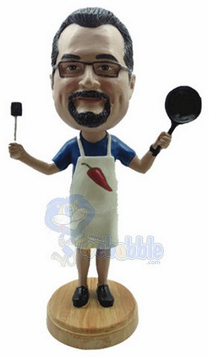 Male Cook With Pan And Spatula Personalized Bobble Head Premium | Gift Ideas For Men