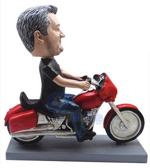 Male sitting on a motorcycle 2 custom bobblehead doll Premium