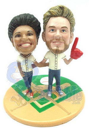 Baseball couple custom bobblehead doll