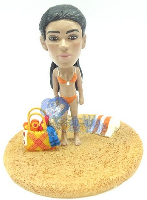 Girl at the beach custom bobblehead doll Premium