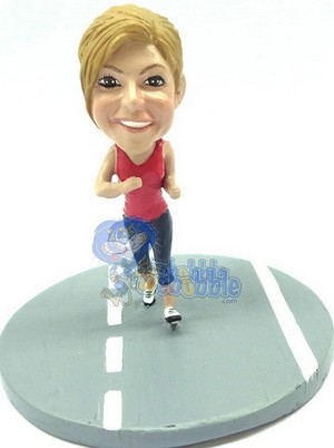 Girl running on the road custom bobblehead doll Premium