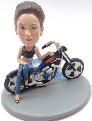 Girl leaning sexy on a motorcycle custom bobblehead doll Premium