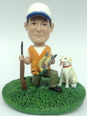 Male duck hunter and dog custom bobblehead doll Premium