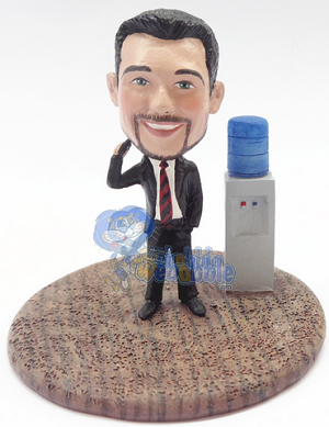 Male executive on phone at the water cooler custom bobblehead doll Premium