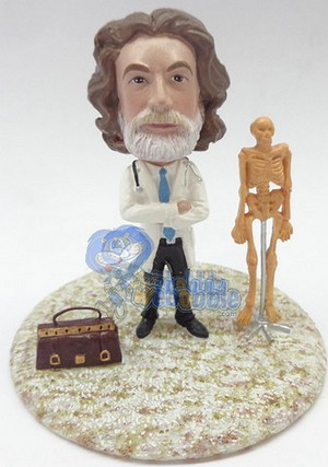Doctor With Medical Bag And A Skeleton Custom Bobble Head Premium | Gift ideas for men