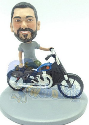 Male standing next to his motorcycle custom bobblehead doll (bobbing doll)