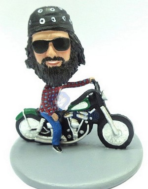 Male Sitting On A Motorcycle Custom Bobble Head Premium | Gift ideas for men