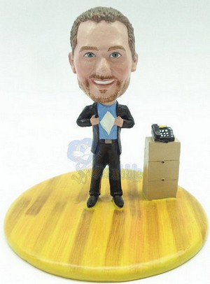 Male holding his shirt open - add your logo custom bobblehead doll Premium
