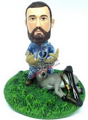 Male hunter with deer and bow custom bobblehead doll Premium