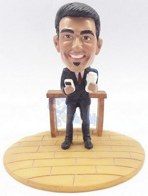 Male with phone and coffee custom bobblehead doll Premium