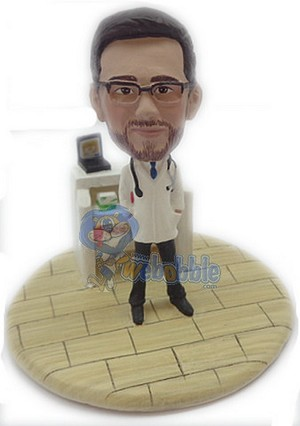 Doctor male with work station custom bobblehead doll Premium