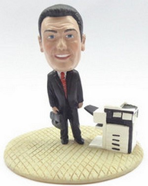 Male executive with brief case and copy machine custom bobblehead doll Premium