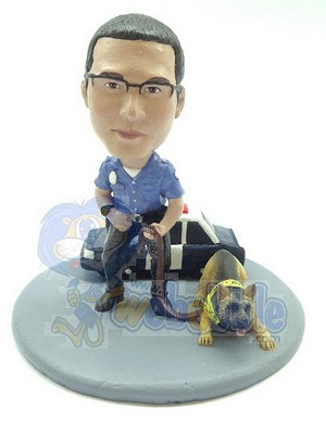 Officer And K9 Custom Next To Their Car Bobble Head Premium | Gift Ideas For Men