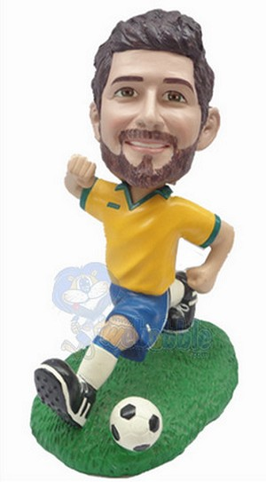 Soccer Man running custom bobblehead doll