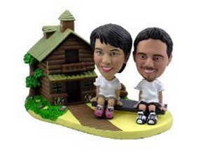 Custom Bobble Head Couple With Cabin | Gift Ideas For Couples