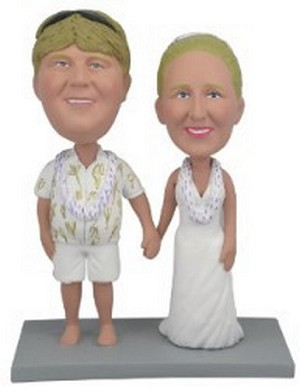 Wedding  couple Hawaiian custom bobblehead doll