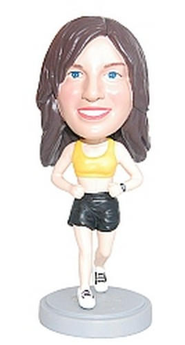 Female Runner custom bobblehead doll