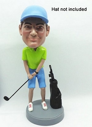 Golfer with bag custom bobblehead doll 3 (bobbing doll)