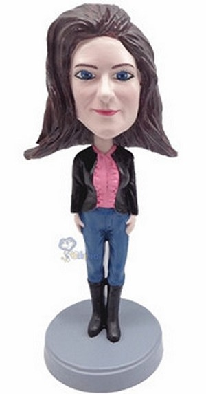 Custom Bobble Head Female Wearing Jeans And Boots | Gifts For Women