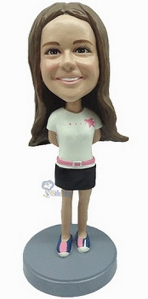 Custom Bobble Head Female Wearing Short Dress And Boots 2 | Gifts For Women