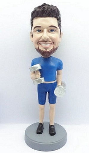 Male Weight lifter custom bobblehead doll 2