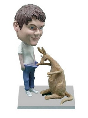 Kangaroo laughing at Man custom bobblehead doll