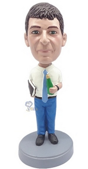 Man with Book and Bottle custom bobblehead doll