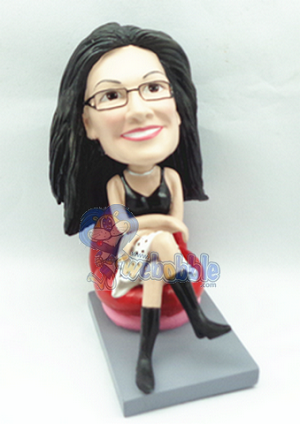 Female Sitting custom bobblehead doll
