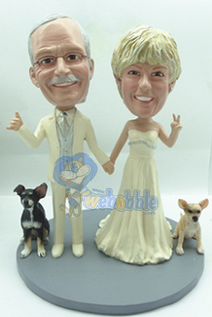 Wedding couple NEW with 2 dogs custom bobblehead doll