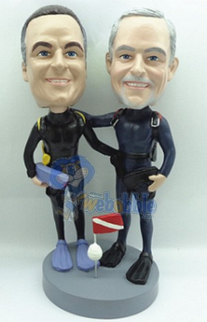 2 Men Scuba Figurine Custom Bobble Head | Gift Ideas For Couples