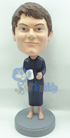 Male in robe with coffee custom bobblehead doll 2