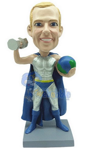 Male Super Hero With World And Weight Custom Bobble Head | Gift Ideas For Men