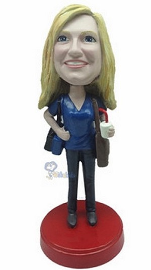 Female with Cup custom bobblehead Premium (bobbing doll)