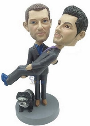Same Sex Carrying Male Couple Custom Bobble Head | Gift Ideas For Couples