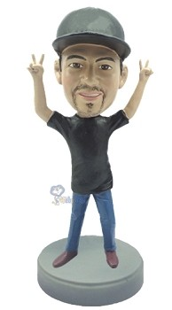 Casual with arms up custom bobblehead doll