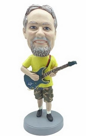 Guitar In Shorts And Tee Shirt Custom Bobble Head | Gift Ideas For Men
