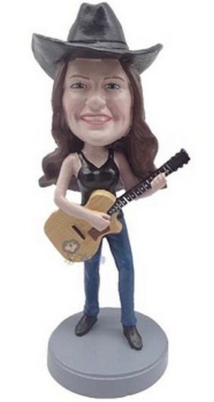 Custom Bobble Head Female Guitar Playing In Tank Top | Gifts For Women