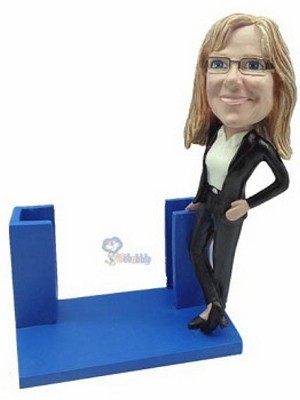 Business Card Holder - Women personalized bobblehead doll2