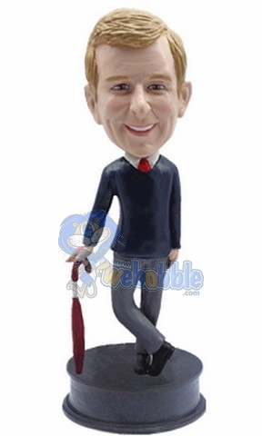 Business Man with Umbrella custom bobblehead doll