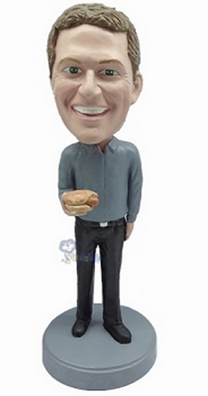 Casual Custom Bobble Head 23 With Hotdog | Gift Ideas For Men