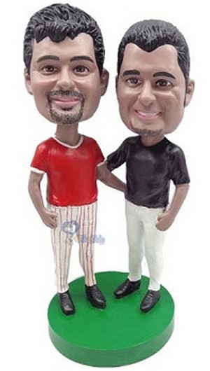 Same Sex Baseball Male couple custom bobblehead doll