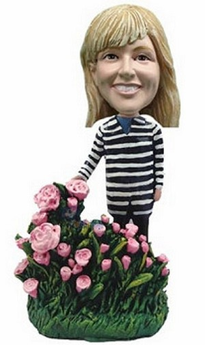 Custom Bobble Head Nice Women With Flowers Personalized Bobble Head3 | Gifts For Women
