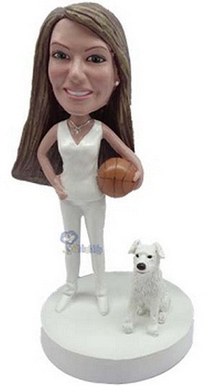Custom Bobble Head Basketball Player With Dog Female | Gifts For Women