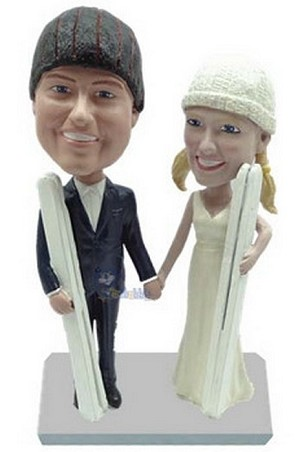 Skiing Couple Custom Bobble Head | Gift Ideas For Couples