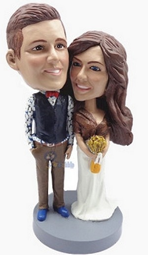 Happy couple custom bobblehead doll