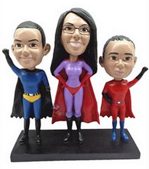 3 Superhero custom bobblehead doll