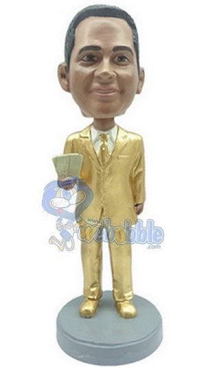 Golden Man With Money In Suit Custom Bobble Head | Gift Ideas For Men