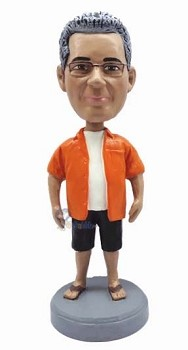 Man in shorts and sandals custom bobblehead doll