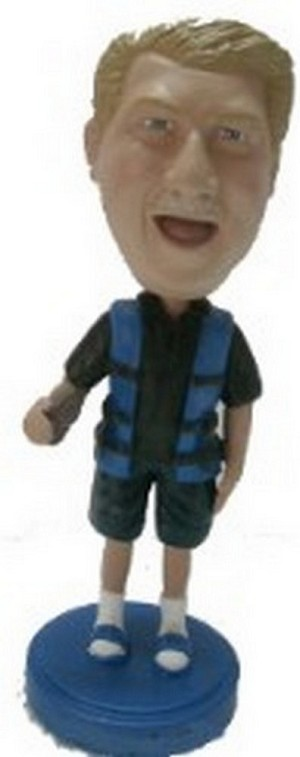 Man in life vest fisherman custom bobblehead doll (bobbing doll)